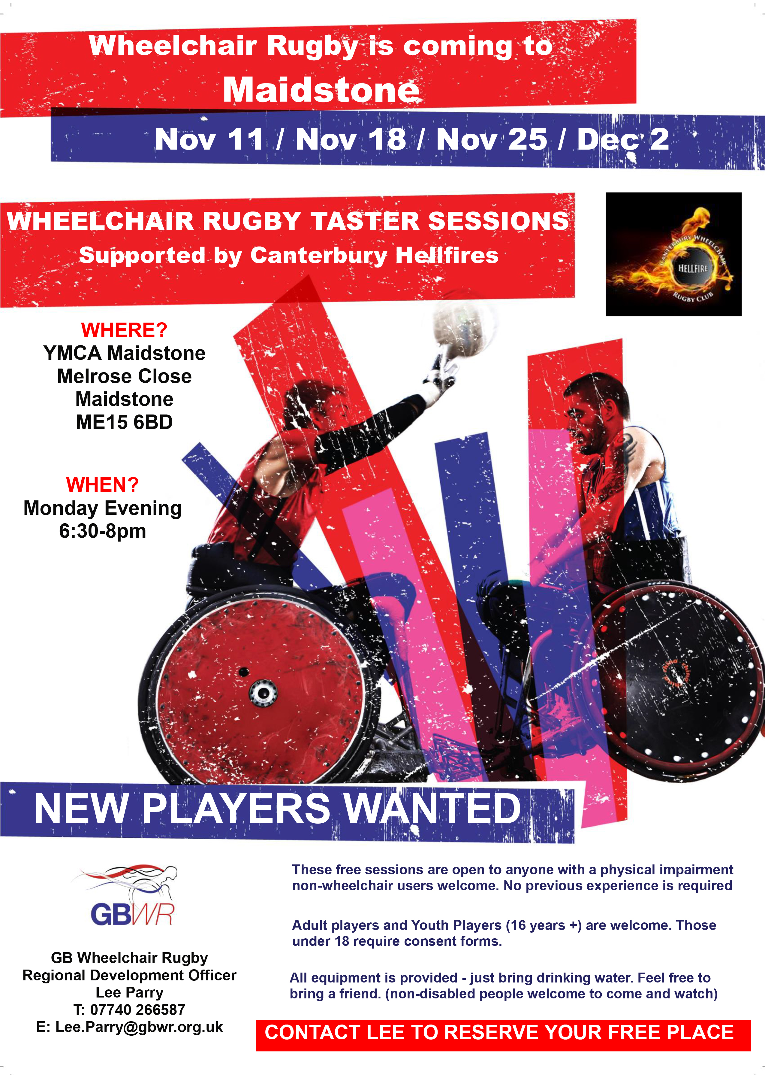 GB Wheelchair Rugby and Canterbury Hellfire Wheelchair Rugby Team are looking for new players